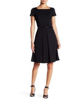 Short Sleeve Belted Fit & Flare Dress