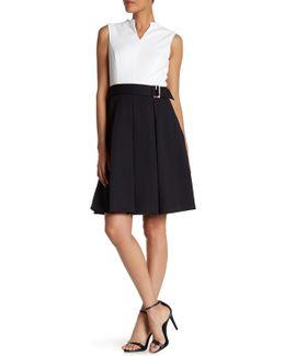Colorblock Pique Fit & Flare Dress
