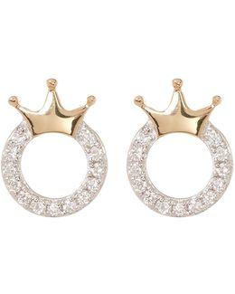 18k Gold Crown Shaped Diamond Stud Earrings - 0.07 Ctw