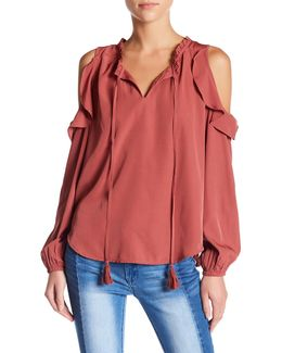 Ruffle Cold Shoulder Sleeve Blouse