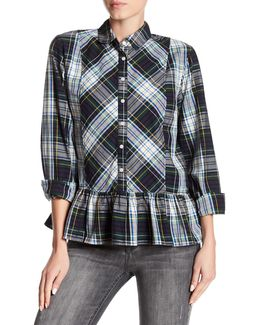 Plaid Ruffle Hem Blouse