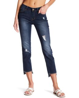 Distressed Straight Ankle Crop Jeans
