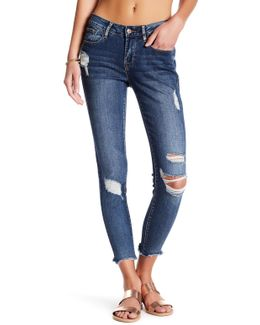 Deconstructed Frayed Cropped Skinny Jeans
