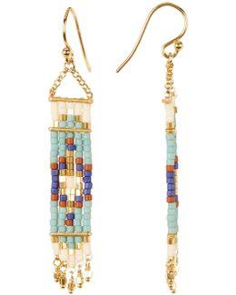 18k Gold Plated Sterling Silver Beaded Tapestry Dangle Earrings