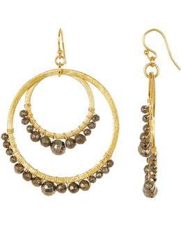 Pyrite Beaded Double Circle Earrings