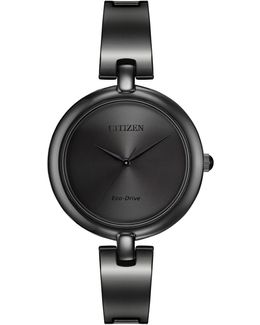 Women's Eco-drive Silhouette Bangle Black Stainless Watch