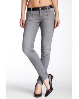 Bleached Zipper Jean