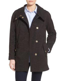 Textured Cotton Blend Boyfriend Coat