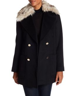 Brushed Twill Wool Coat With Faux Fur Collar