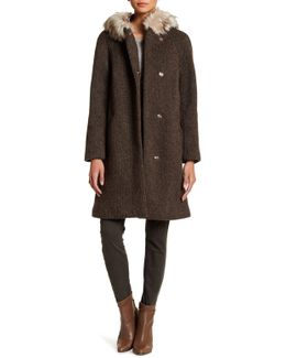 Removable Faux Fur Trim Mid-length Padded Coat