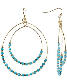 Turquoise Beaded Double Hoop Dangle Earrings