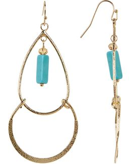 Rectangle Turquoise Charm Dangle Earrings
