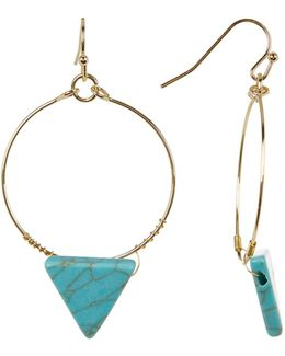Turquoise Triangle Hoop Dangle Earrings