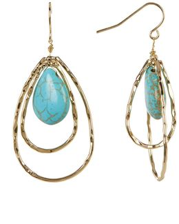 Oval Double Hoop Turquoise Dangle Earrings