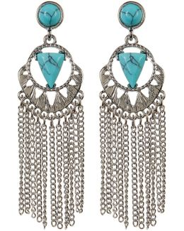 Turquoise Chain Fringe Dangle Earrings
