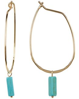 Rectangle Turquoise Charm Hoop Earrings
