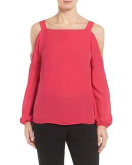 Elie Lindy Cold Shoulder Silk Blouse