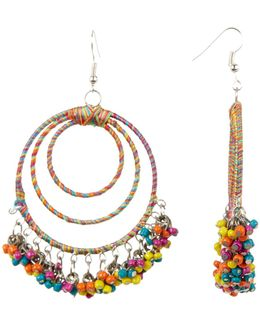 Wrapped & Beaded Multi Hoop Earrings