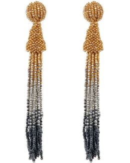Long Seed Bead Tassel Drop Earrings