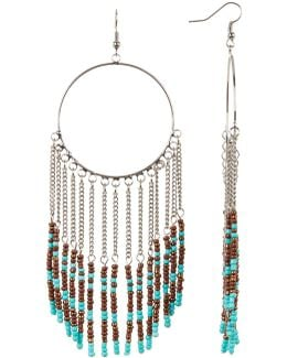 Seed Bead Fringe Hoop Earrings