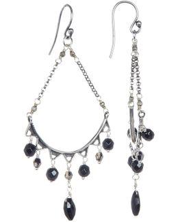 Sterling Silver Faceted Hyperstene Drop Earrings