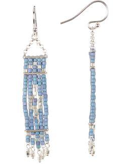 Sterling Silver Beaded Tapestry Dangle Earrings