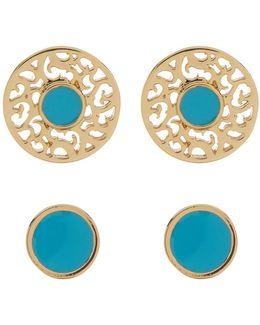Enamel Earrings Set - Set Of 2