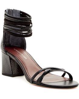 Essie Snake Embossed Block Heel Sandal