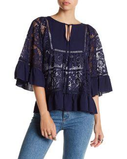 3/4 Sleeve Front Tassel Crochet Lace Blouse