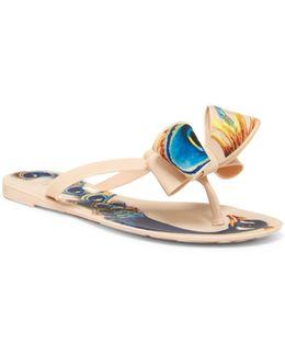 Matte Peacock Bow Flip-flop