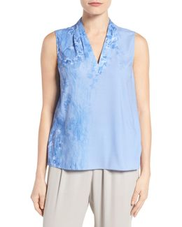 Edie Print Pleat V-neck Blouse