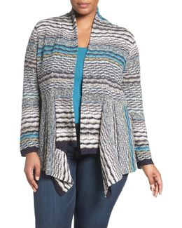 Shaded Stripes Linen Blend Cardigan (plus Size)