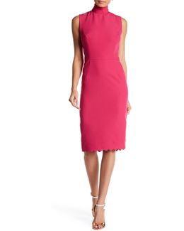 Scallop Mock Neck Dress
