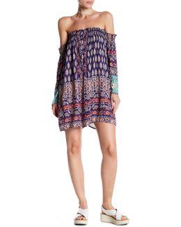 Off-the-shoulder Smocked Print Dress