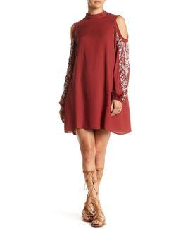 Mock Neck Embroidered Dress