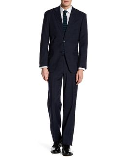 Vasser Blue Windowpane Two Button Notch Lapel Suit