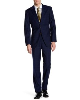 Vasser Blue Windowpant Two Button Notch Lapel Suit