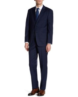 Vasser Navy Windowpane Two Button Notch Lapel Suit