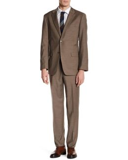 Vasser Taupe Sharkskin Two Button Notch Lapel Suit