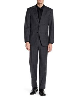 Vasser Dark Gray Windowpane Two Button Notch Lapel Suit