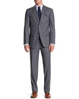 Gray Plaid Notch Lapel Two Button Print Suit