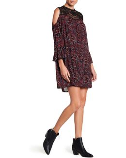 Lace Trim Cold Shoulder Print Dress