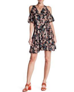 Cold Shoulder Wrap Print Dress