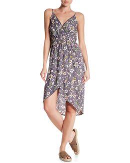 Surplice V-neck Wrap Print Mini Dress