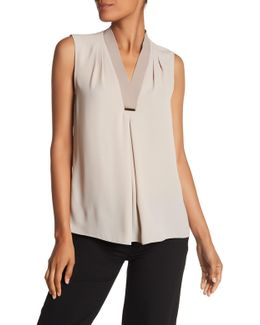 Rosalyn Pleated V-neck Blouse