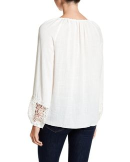Becket Faux Pearl Embellished Lace Blouse