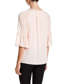 Pria Flutter Sleeve Beaded Lace Blouse