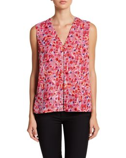 Maura Floral Print Beaded Front Blouse