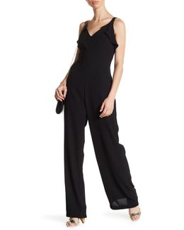 Sleeveless Ruffle Trim Jumpsuit