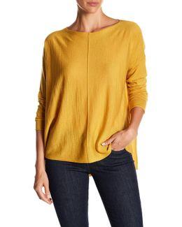 Bateau Neck Seamed Drop Shoulder Merino Wool Sweater